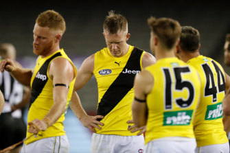 Dejected Tigers after their loss to St Kilda last weekend.