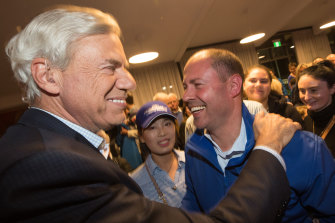 Federal Treasurer Josh Frydenberg gets a big congratulations from Michael Kroger after claiming Kooyong at last year's federal election.