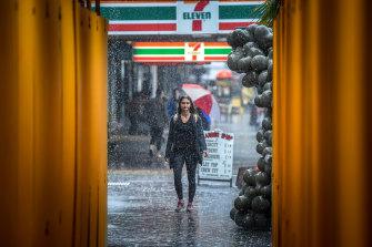 It was raining hard on Fitzroy Street, St Kilda, on Tuesday afternoon.