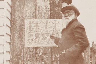 Barak at work on a drawing at the Coranderrk settlement in 1902.