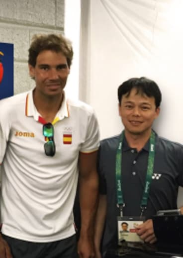 Australian Open stringer Pin Lay, right, with top men's player Rafael Nadal pictured at the 2016 Rio Olympics.