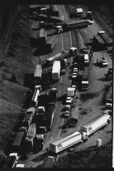 The blockade at Razorback, NSW.