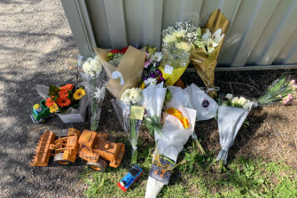 Flowers and toys placed outside the toddler's home.