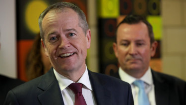 Leader of the Opposition Bill Shorten at a press conference at the North Metropolitan Tafe in Northbridge after announcing the $400 million GST top-up on Wednesday.