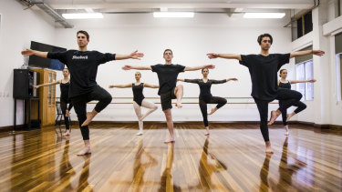 Students at Bradfield College prepare for their HSC dance performance. From left to right, Lyndon Frykberg, Max Walburn, Jett Balbi.