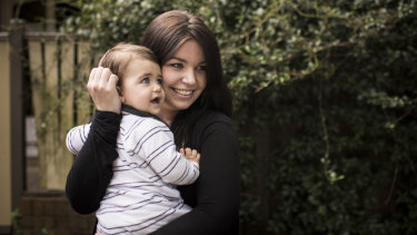 Sophie Mackay with her son, Alexander, who goes to daycare in Artarmon three days a week.