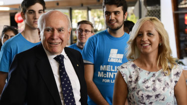 Former PM John Howard campaigned with Liberal candidate Melissa McIntosh in Lindsay.