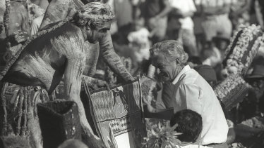 June 1988: Then prime minister Bob Hawke receives the Barunga statement from Galarrwuy Yunupingu in Arnhem Land.