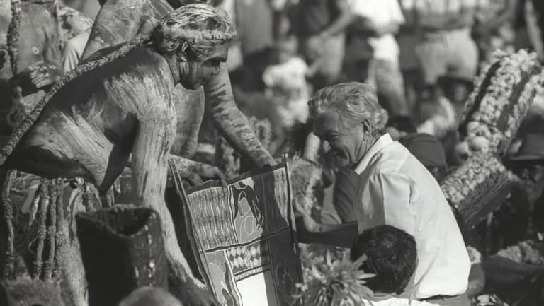 June 1988: Then prime minister Bob Hawke receives the Barunga statement from Galarrwuy Yunupingu in Arnhem Land.