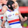 Caleb Daniel celebrates the Bulldogs' finals victory over the Brisbane Lions.