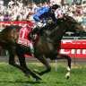 Glen Boss riding Makybe Diva wins the Melbourne Cup.