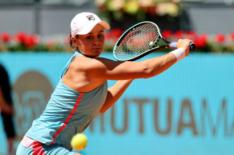 Ash Barty plays a backhand during her third round match against Paula Badosa of Spain.