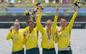 Olympic champions Lucy Stephan, Rosemary Popa, Jessica Morrison and Annabelle McIntyre after winning the women's four