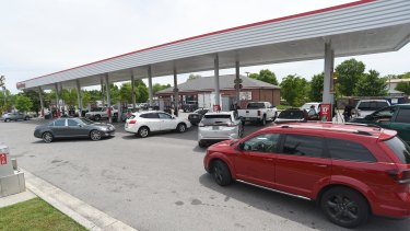 Drivers fill their tanks at the Speedway in East Ridge, Tennessee.