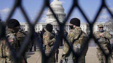 National Guard keep watch on the Capito on Capitol Hill in Washington.