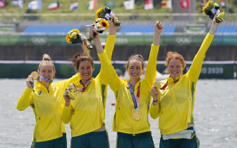 Olympic champions Lucy Stephan, Rosemary Popa, Jessica Morrison and Annabelle McIntyre after winning the women's four.