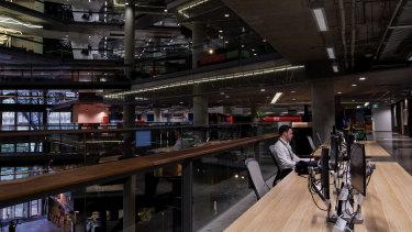 NAB's near-deserted head office in Melbourne during the coronavirus.