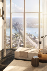 A render of the view from an apartment in One Sydney Harbour.