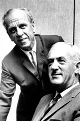 Dr. H.C. Coombs (left), Governor of the Reserve Bank of Australia today gave a press conference at the Reserve Bank, Martin Place Sydney to announce his retirement and his successor Mr. J.G. Phillips. November 2, 1967