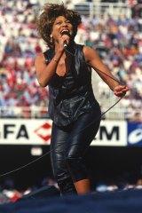 Tina Turner performing at the 1993 NRL grand final at Allianz Stadium.