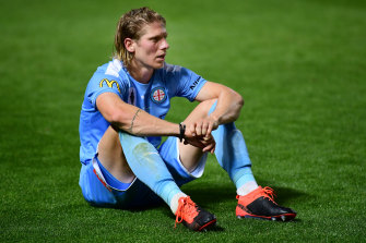 A dejected Harrison Delbridge after Melbourne City's loss to Adelaide United in the FFA Cup final.