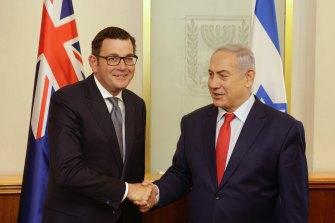 Premier Daniel Andrews with Israeli Prime Minister Benjamin Netanyahu in 2017.