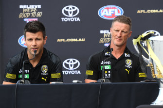 Richmond captain Trent Cotchin, left, and coach Damien Hardwick.