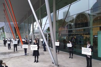 Protesters against fossil fuels at the APPEA conference on Tuesday.