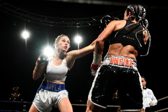 Fighting against Sarah Dwyer. Harris became the reigning Australian female middleweight boxing champion last year and, a few months ago, added the super welterweight champion's belt.