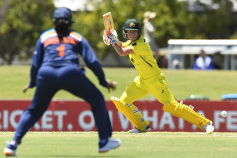 Beth Mooney during Sunday's one-day clash with India in Mackay.