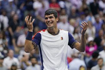 Big moment: Teenager Carlos Alcaraz after defeating world No.3 Stefanos Tsitsipas.