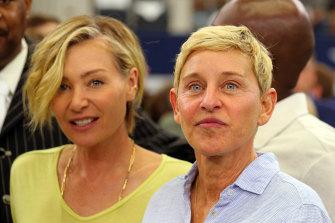 With wife Portia de Rossi in 2019