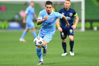 Jamie Maclaren is all concentration for Melbourne City during their win over Central Coast Mariners at AAMI Park on Monday night.