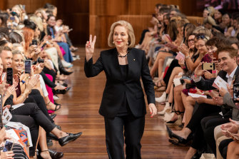 ABC chairman Ita Buttrose, walking the catwalk  last week at Melbourne's fashion festival for a charity raising funds for Dementia Australia.