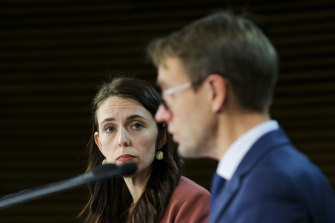 Director-General of Health Dr Ashley Bloomfield and Prime Minister Jacinda Ardern on Tuesday.