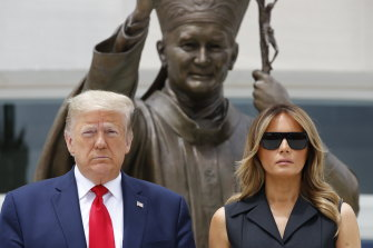 President Donald Trump and first lady Melania Trump, pictured at the Saint John Paul II National Shrine last week.