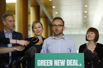 Newly elected Greens Leader Adam Bandt with (from left) senators Nick McKim, Larissa Waters and Rachel Siewert  at Parliament House this week.