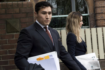 Sam Burgess' lawyer, Bryan Wrench, leaves Moss Vale Court House on Wednesday.