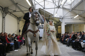 Models with four legs featured at Franck Sorbier.