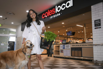 Sarah Davidson, local influencer, and her dog Paul at the St Kilda Coles.