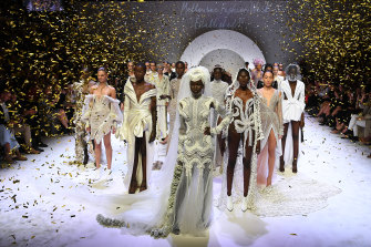 Sparkly but unnecessary ... the finale at the opening Town Hall runway at Melbourne Fashion Week.