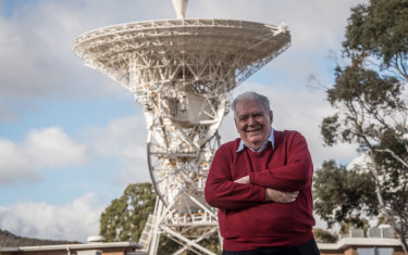 Mike Dinn, former deputy director at Honeysuckle Creek with the dish now relocated to  Tidbinbilla.