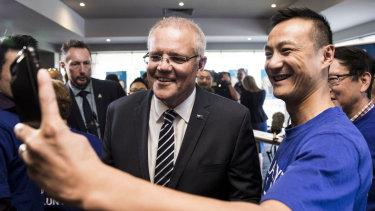 Prime Minister Scott Morrison campaigning in Melbourne.