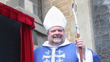 Ballarat Bishop Garry Weatherill with the missing crozier.