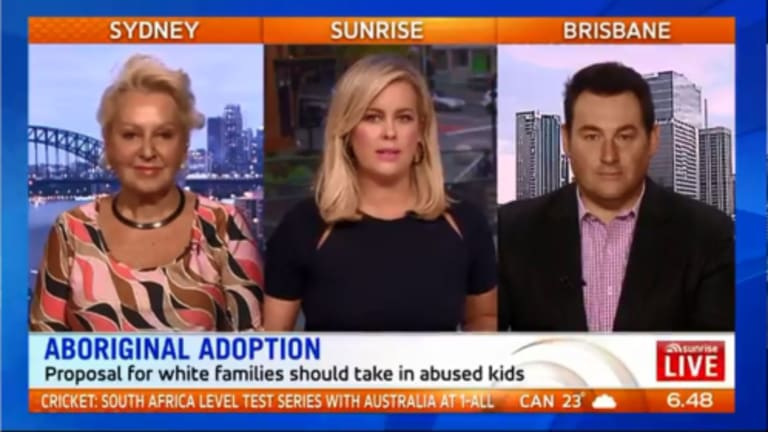 Sunrise's Sam Armytage (centre) presents an ill-advised segment with Prue MacSween and Ben Davis.