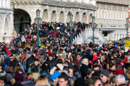 Overcrowded waterfront Riva degli Schiavoni on February 11, 2018 in Venice