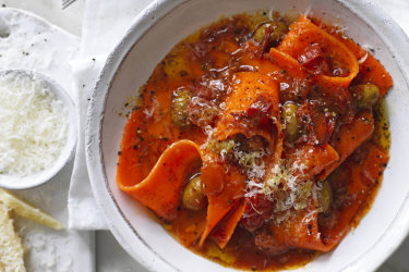 Carrot pappardelle with tomato and chilli.