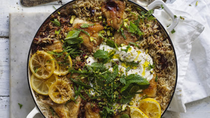 Karen Martini's Persian chicken with rice, pistachio and mint