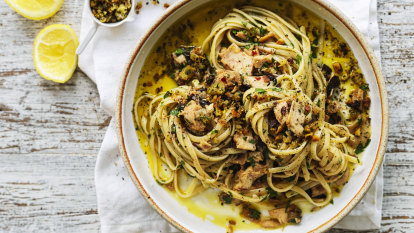 Neil Perry's linguine with spicy tuna, olives and capers