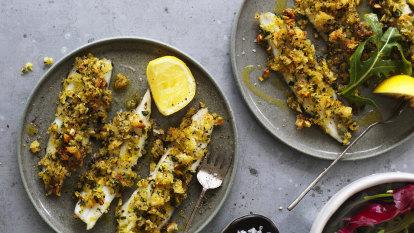 Karen Martini's garfish with herbed pistachio